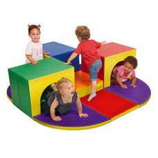 SoftZone® Bright Colors and Shapes Vinyl Covered Foam Triple Tunnel Maze