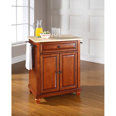 Natural Wood Top Portable Kitchen Island with Cambridge Feet - Maple and Classic Cherry Finish