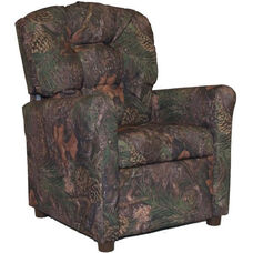 Kids Recliner with Button Tufted Back - Mixed Pine