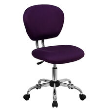 Mid-Back Purple Mesh Padded Swivel Task Office Chair with Chrome Base