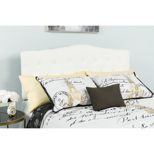 Our Cambridge Tufted Upholstered Full Size Headboard in White Fabric is on sale now.