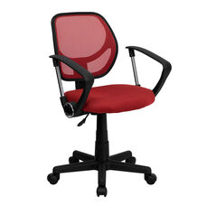 Mid-Back Red Mesh Swivel Task Chair with Arms