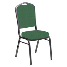 Embroidered Crown Back Banquet Chair in Phoenix Loden Fabric - Silver Vein Frame