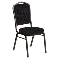 Crown Back Banquet Chair in Mystery Ebony Fabric - Gold Vein Frame