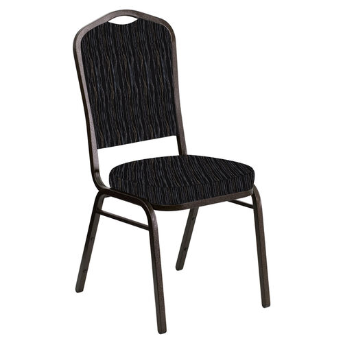 Our Crown Back Banquet Chair in Mystery Ebony Fabric - Gold Vein Frame is on sale now.