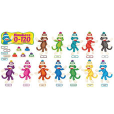 Trend Enterprises Sock Monkeys Num 0-120, 266 Pieces, Multi