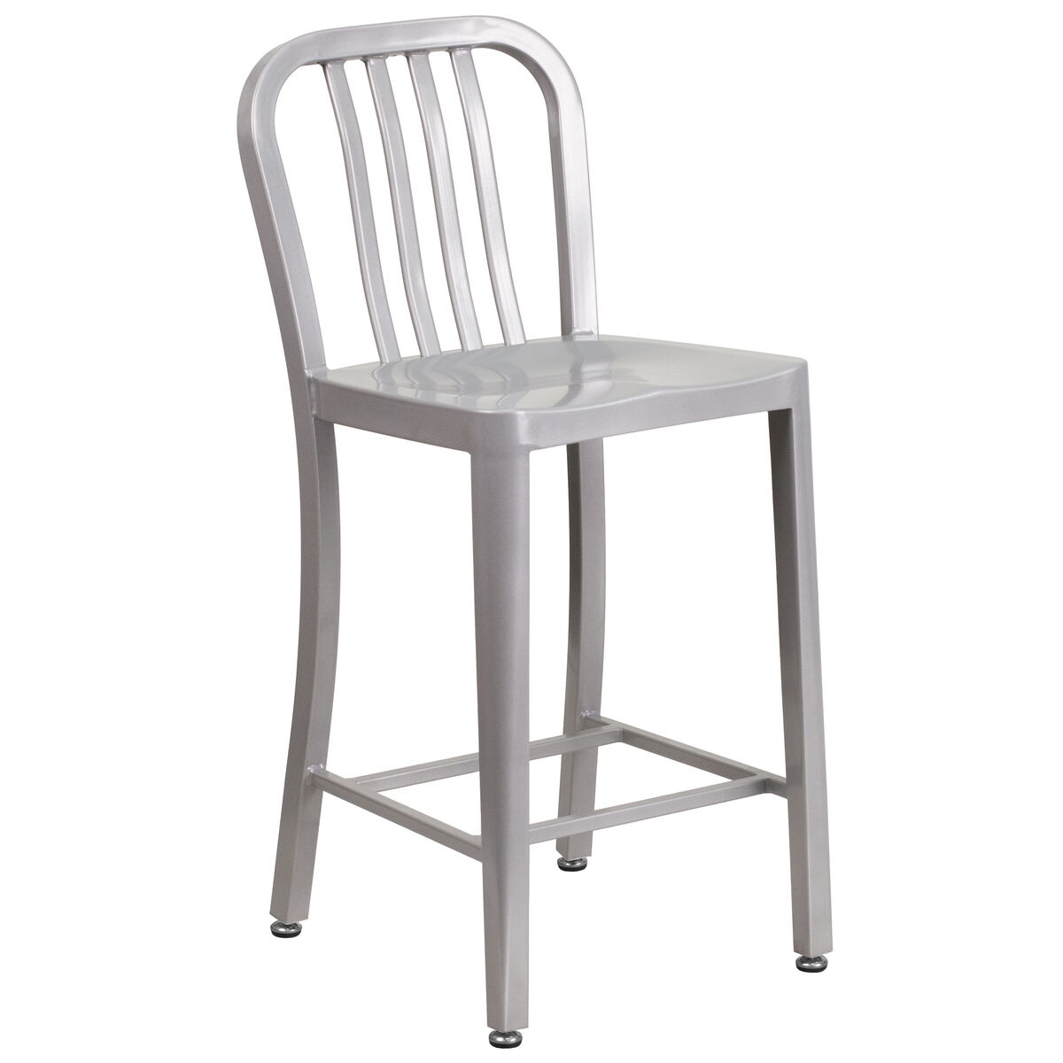 Our 24 high silver metal indoor outdoor counter height stool with vertical slat