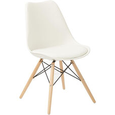 Ave Six Allen Guest Chair with Natural Wood Legs - White