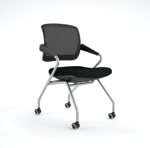 Our Valore Mid-Back Training Chair with Black Fabric Seat - Set of 2 - Black Mesh Back is on sale now.