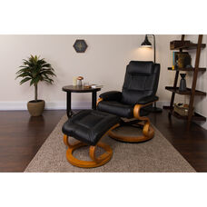 Contemporary Multi-Position Recliner and Ottoman with Swivel Maple Wood Base in Black Leather