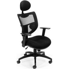 Parker Ridge Executive Mesh Chair with Adjustable Headrest - Black