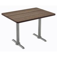 "30""W x 60""D Rectangular Laminate Pedestal Table with Studio Teak Top - Silver T-Leg Base"