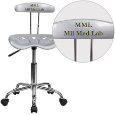 Personalized Vibrant Silver and Chrome Swivel Task Chair with Tractor Seat