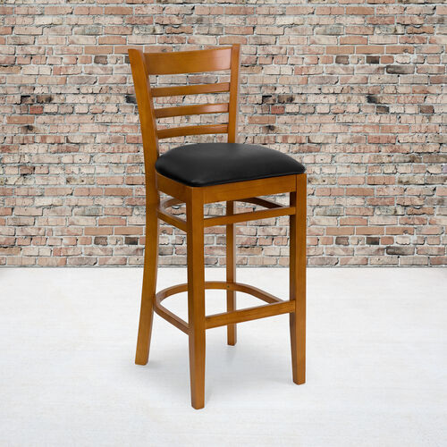 Cherry Finished Ladder Back Wooden Restaurant Barstool with Black Vinyl Seat