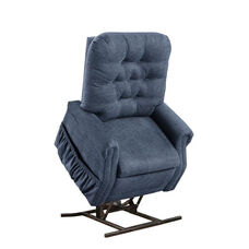 Two Way Petite Reclining Power Lift Chair with Matching Arm and Headrest Covers - Encounter Blue Fabric