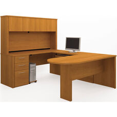 Embassy U-Shaped Assembly with Hutch and Conference Table - Cappuccino Cherry