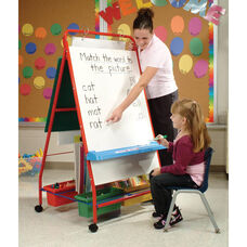 Primary Teaching Easel with Storage Tubs and 2 Dry Erase Boards