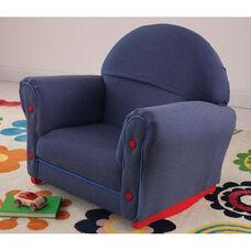 Kids Size Upholstered Velour Arm Chair Rocker with Slipcover - Denim