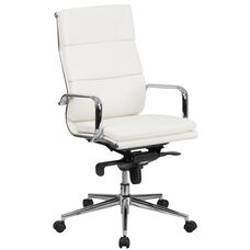 High Back White LeatherSoft Executive Swivel Office Chair with Synchro-Tilt Mechanism and Arms