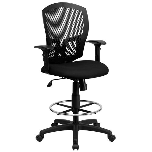Our Mid-Back Designer Back Drafting Chair with Fabric Seat and Adjustable Arms is on sale now.