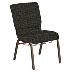 Embroidered 18.5''W Church Chair in Empire Chocaqua Fabric with Book Rack - Gold Vein Frame