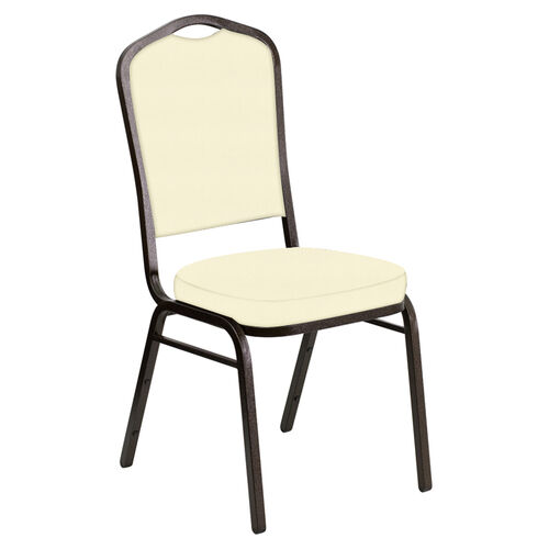 Our Embroidered Crown Back Banquet Chair in E-Z Sierra Off White Vinyl - Gold Vein Frame is on sale now.