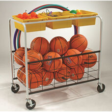 Physical-Education Storage Cart with 3 Large Open Storage Tubs