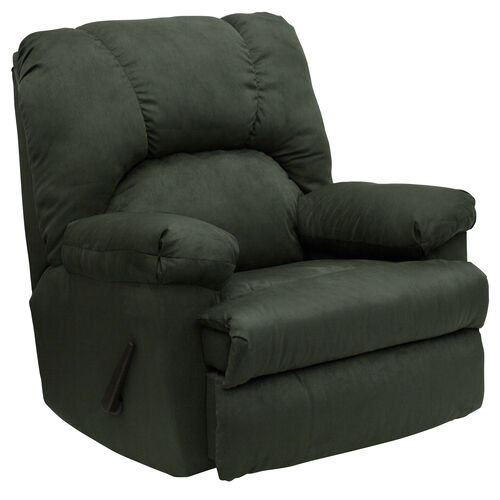 Our Contemporary Montana Loden Microfiber Suede Rocker Recliner with Pillow Headrest is on sale now.