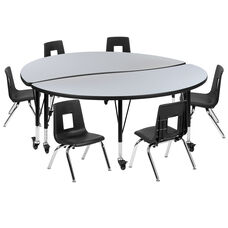 """Mobile 60"""" Circle Wave Collaborative Laminate Activity Table Set with 12"""" Student Stack Chairs, Grey/Black"""