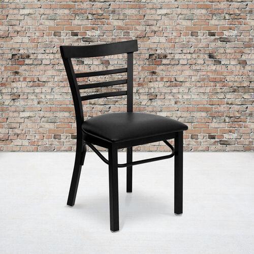 Our HERCULES Series Black Three-Slat Ladder Back Metal Restaurant Chair - Black Vinyl Seat is on sale now.