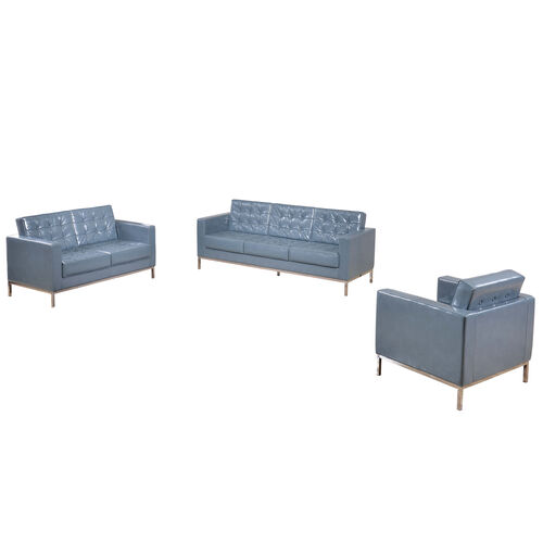 "Our HERCULES Lacey Series Reception Set in Gray LeatherSoft with <span style=""color:#0000CD;"">Free </span> Tables is on sale now."