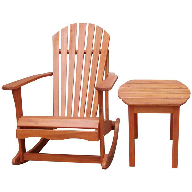... Our Outdoor Oil Treated Solid Acacia Wood 2 Piece Adirondack Rocking  Chair With Side Table Is
