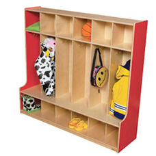 Strawberry Red 6-Section Seat Locker with Two Coat Hooks in Each Section - Assembled - 54