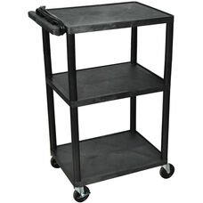 3 Shelf High Open A/V Utility Cart with 3 Outlet Surge - Black - 24