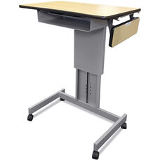 Focus Desk™ XT Height Adjustable with Book Box Side Shelf & Furniture Casters - Powdercoat Silver Paint and Kensington Maple Laminate