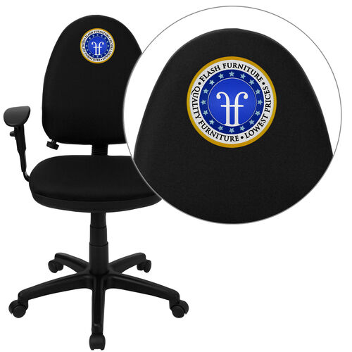 Embroidered Mid-Back Fabric Multifunction Swivel Ergonomic Task Office Chair with Adjustable Lumbar Support and Adjustable Arms