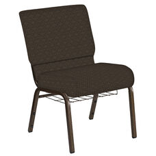 Embroidered 21''W Church Chair in Abbey Mocha Fabric with Book Rack - Gold Vein Frame
