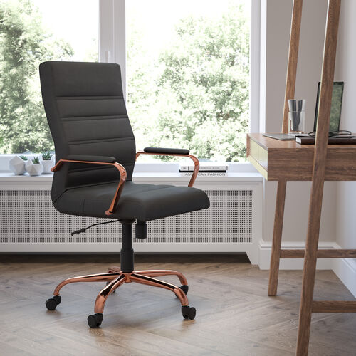 High Back Black LeatherSoft Executive Swivel Office Chair with Rose Gold Frame and Arms
