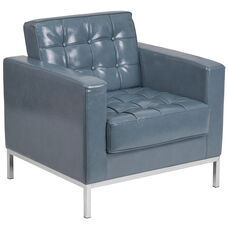 HERCULES Lacey Series Contemporary Gray LeatherSoft Chair with Stainless Steel Frame