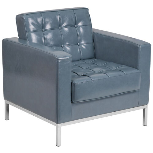Our HERCULES Lacey Series Contemporary Gray LeatherSoft Chair with Stainless Steel Frame is on sale now.