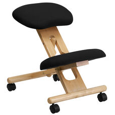 Mobile Wooden Ergonomic Kneeling Office Chair in Black Fabric