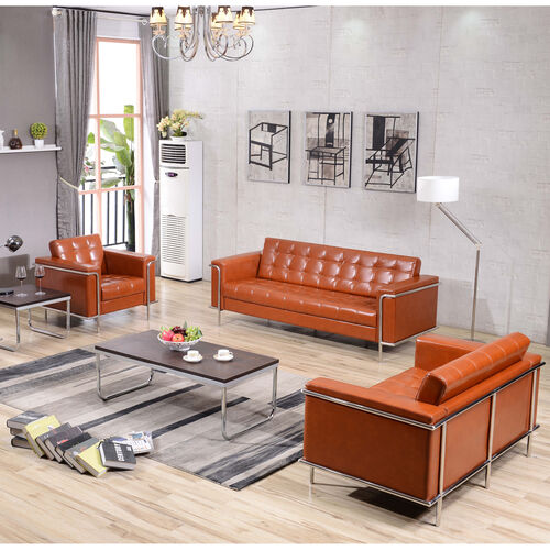 """Our HERCULES Lesley Series Reception Set in Cognac LeatherSoft with <span style=""""color:#0000CD;"""">Free </span> Tables is on sale now."""
