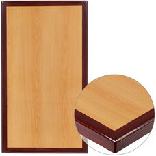 "30"" x 60"" Rectangular 2-Tone High-Gloss Cherry Resin Table Top with 2"" Thick Mahogany Edge"
