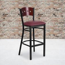 Black Decorative 4 Square Back Metal Restaurant Barstool with Mahogany Wood Back & Burgundy Vinyl Seat