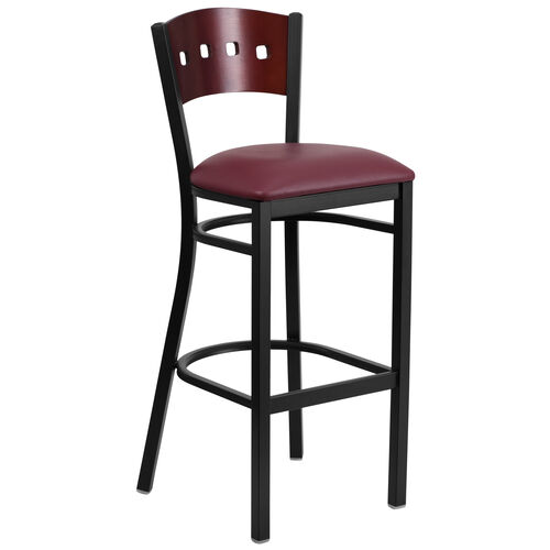 Our Black Decorative 4 Square Back Metal Restaurant Barstool with Mahogany Wood Back & Burgundy Vinyl Seat is on sale now.