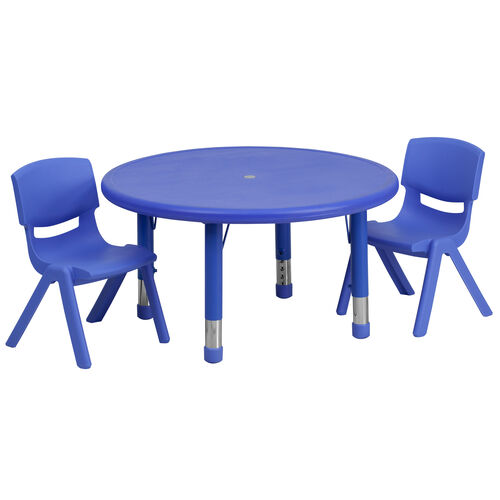 """Our 33"""" Round Plastic Height Adjustable Activity Table Set with 2 Chairs is on sale now."""