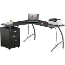 Techni Mobili L Shape Corner Desk with File Cabinet - Espresso