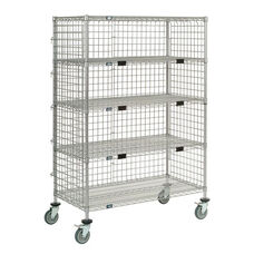 Standard Duty Poly-Z-Brite - 5 Wire Shelves/ Three Sided Enclosure Panels Exchange & Linen Transport Truck - 24