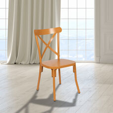 Metal Cross Back Chair (Natural)