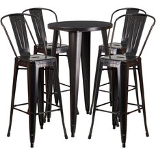 "Commercial Grade 24"" Round Black-Antique Gold Metal Indoor-Outdoor Bar Table Set with 4 Cafe Stools"